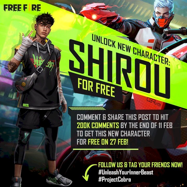 Free Fire India to give out Shirou character for free if the post reaches 200k comments